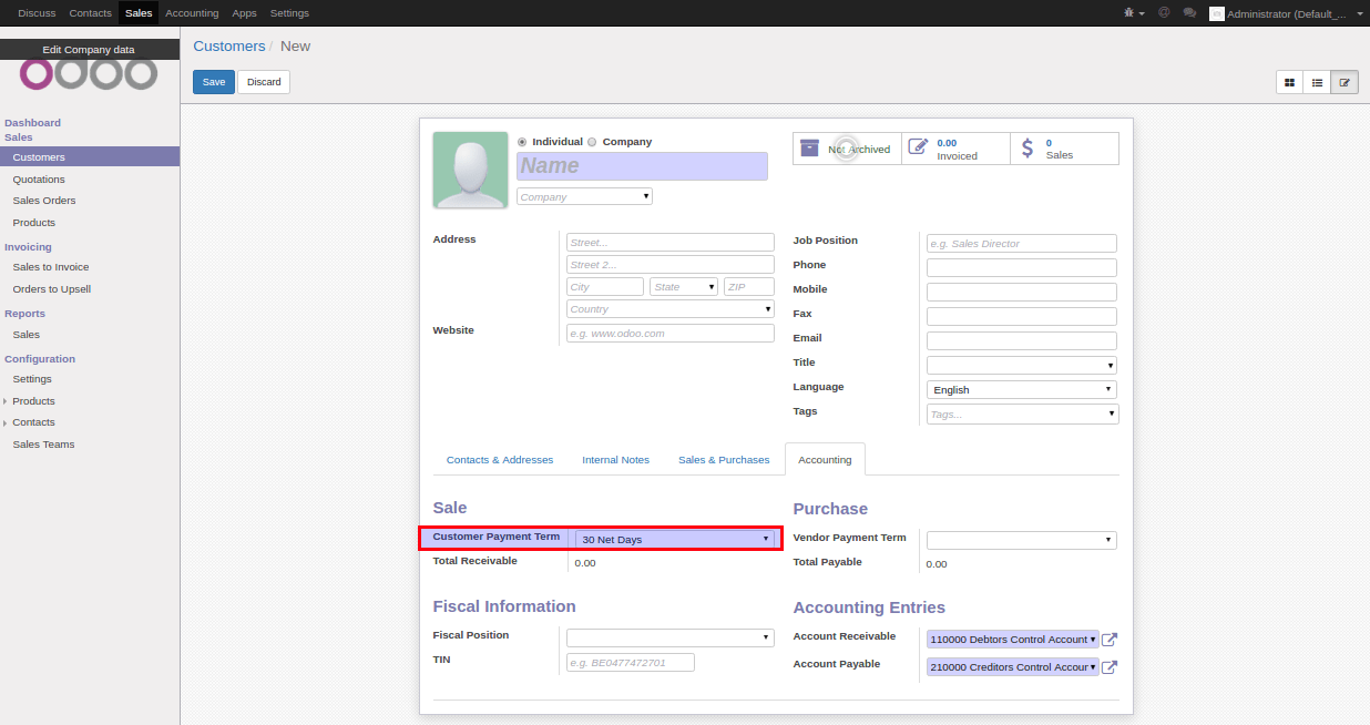 How to set default value in Odoo 2