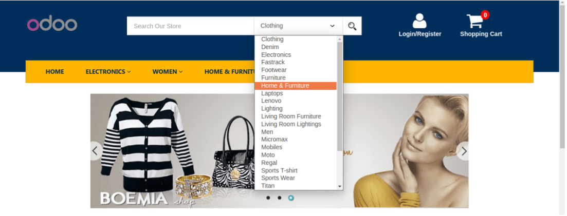 Odoo E-Commerce theme features 3