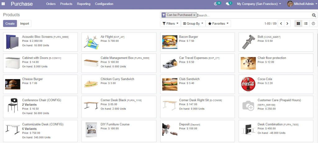 add products in Purchase Module